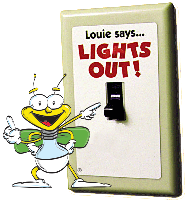 This is an illustration of Louie with a lightswitch that says,