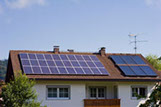 This is a photo of solar panels on a roof of a house.